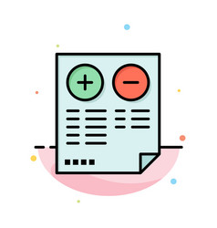 Pros cons document plus minus abstract flat color vector