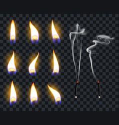Realistic candle flames candlelight fire flame vector