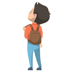 Schoolboy standing with backpack back to school vector