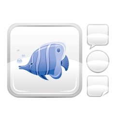Sea beach and travel icon with butterfly fish on vector image