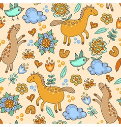 Seamless pattern with horses vector