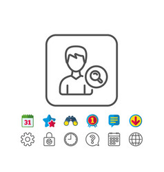 Search user line icon male profile sign vector