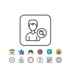 Search user line icon male profile sign vector