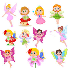 set cute beautiful fairies cartoon isolated vector image