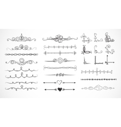 set doodle sketch decorative dividers vector image