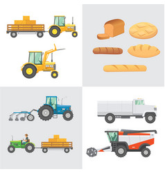 Set harvest agricultural machinery farm vector
