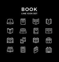 Set line icons of book vector