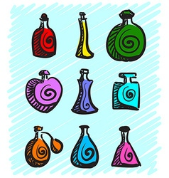Set of colorful bottles with spirits hand-drawn on vector