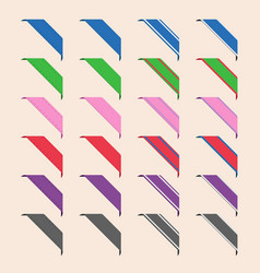 Set of corner ribbons vector