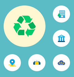 set of urban icons flat style symbols with village vector image
