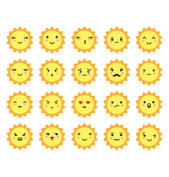 set sun shaped emoji with different mood vector image