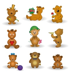 Set toy teddy bears vector image