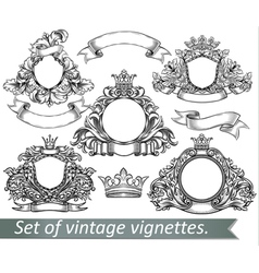 Set vintage emblem with crowns and ribbons vector