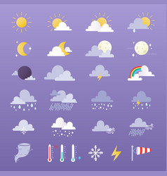 set weather icons sun vector image