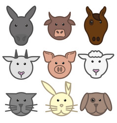 set with animal heads on white background vector image