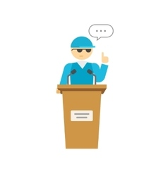 Spokesman speaker person on podium business vector image