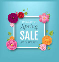 Spring sale poster with flowers background vector
