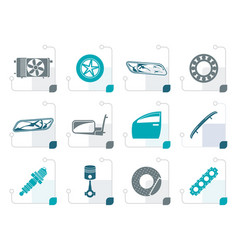 Stylized realistic car parts and services icons vector