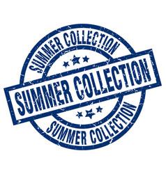 Summer collection blue round grunge stamp vector