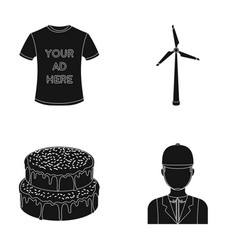 T-shirt with advertising wind generator and other vector