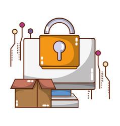 Technology computing security cartoon vector