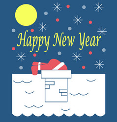 The new years card with santa claus on a roof vector