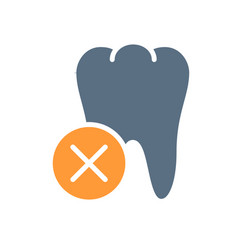 Tooth with cross checkmark colored icon diseased vector