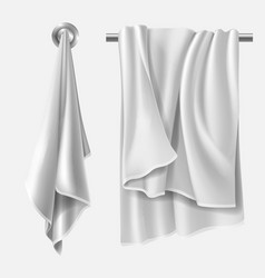Towel mockup textile blank folded wiper sheet vector
