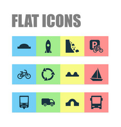 Transportation icons set with hump bridge vector