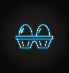 Two eggs pack icon in glowing neon style vector