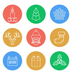 various christmas color back outline icons set vector image