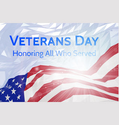 Veterans day banner with usa flag vector