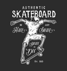 vintage monochrome skateboard activity logo vector image