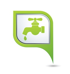 water tap icon on green map pointer vector image
