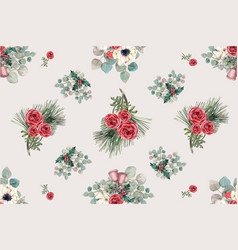 Winter bloom pattern design with anemone rose vector