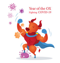 year ox fighting with covid-19 character vector image
