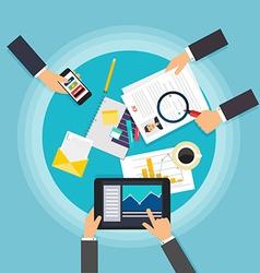 Business teamwork Creative team desktop top view vector image vector image