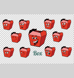 fastfood and candy packing emotions characters vector image vector image