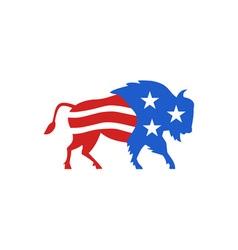 North American Bison USA Flag Retro vector image vector image