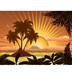 Sunset tropical island1 vector image