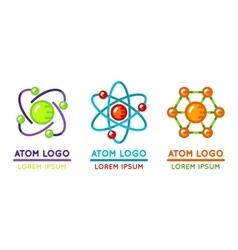 Atom logo set in flat style vector image