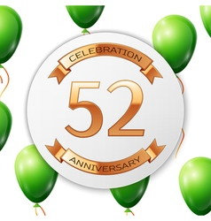 Golden number fifty two years anniversary vector