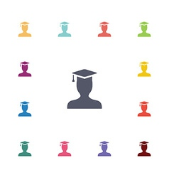 graduate student flat icons set vector image