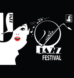jazz festival retro a poster with the stylish vector image