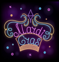 Mardi gras neon crown decoration to fat tuesday vector