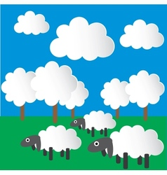 Paper sheep grazing in the meadow vector image