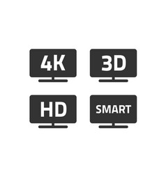 4k ultra hd tv and full hd television icons set vector image vector image