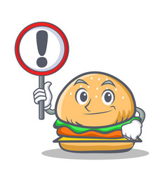 burger character fast food with sign vector image