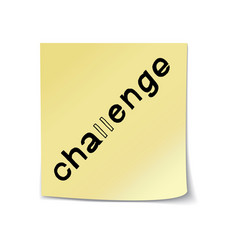 challenge lettering on sticky note vector image