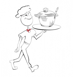 chef with food serving tray vector image